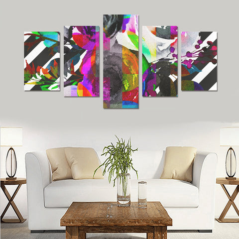 WOW | i Collection 5 Piece Colorful Floral & Stripe Pattern Wall Art Canvas Print