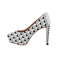 WOW | i Collection Women's High Heels B&W Oval Circular Pattern Fashion Shoes
