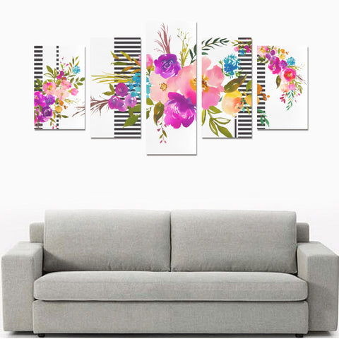 WOW | i Collection 5 Piece Floral & Stripes Pattern Wall Art Canvas Print