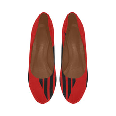 WOW | i Collection Women's High Heels Black and Red Stripe Pattern Fashion Shoes