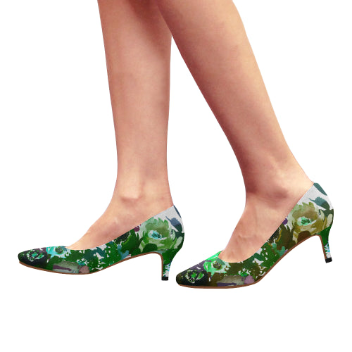 WOW | i Collection Women's Pointy Toe Low Kitten Heel Pumps Green Floral White Shoes
