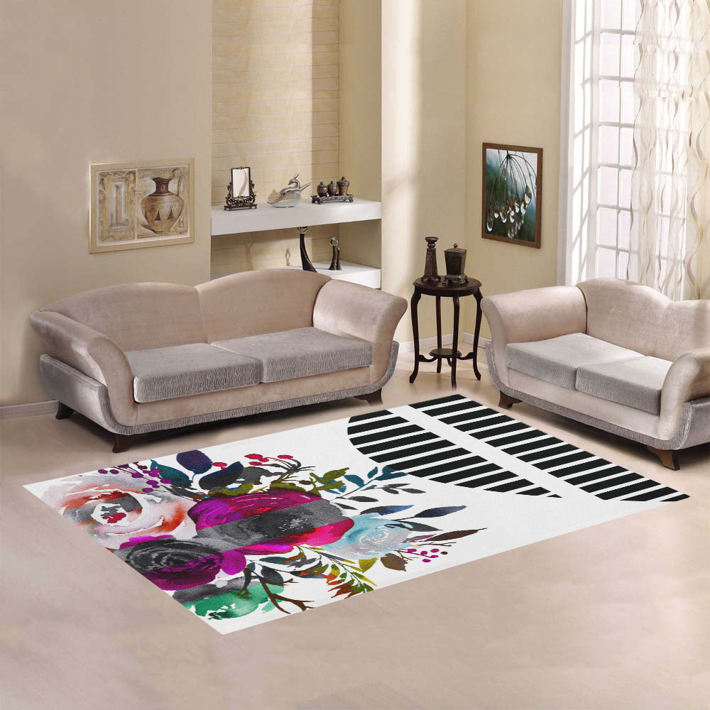 WOW | i Collection Colorful Floral & Geo Pattern Area Rug 7' x 5'