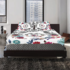 WOW | i Collection 3 Piece B&W Colorful Floral Bedding Set