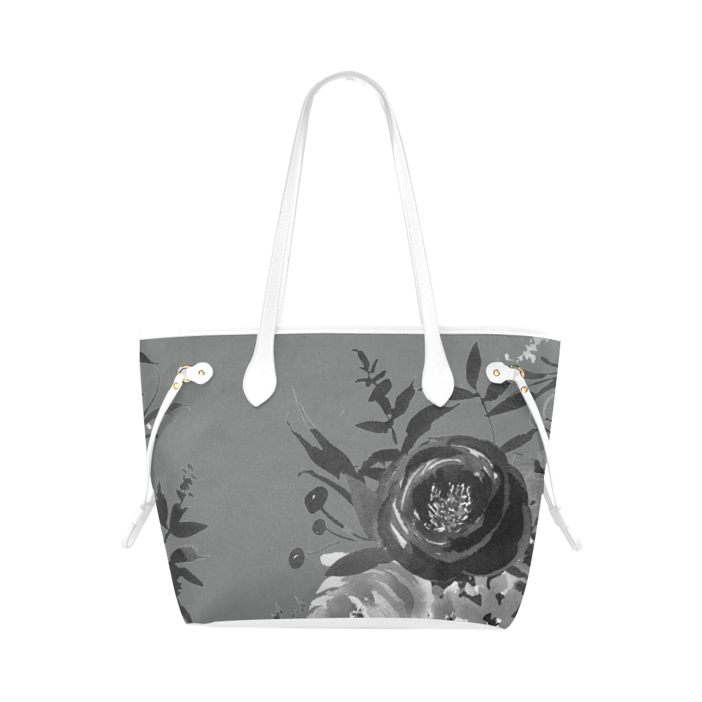 WOW | i Collection B&W Grey Tone Floral High Grade Grey Classic Tote Bag