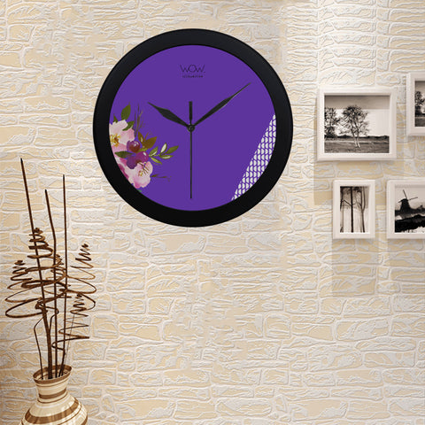 WOW | i Collection B&W Purple Elegant Round Black Framing Wall Clock