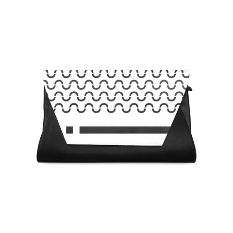 WOW | i Collection Women's Fashion B&W S-Wave Pattern Clutch Bag