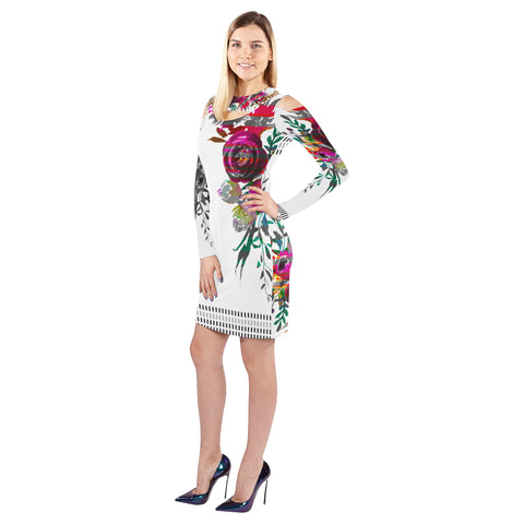 WOW | i Collection Colorful Floral Geo Halter Off Shoulder Long-Sleeve White Dress
