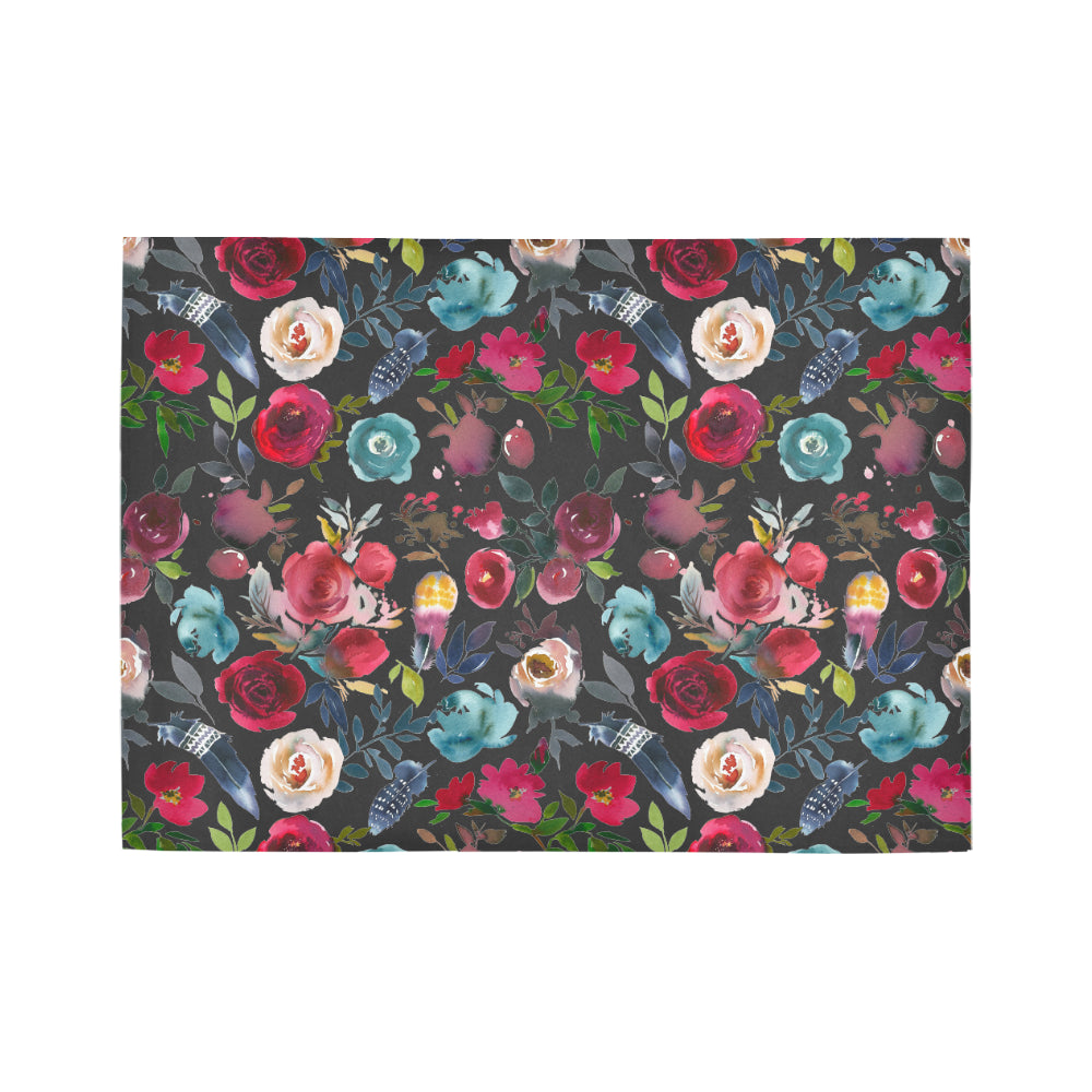 WOW | i Collection Colorful Floral Black Area Rug 7' x 5'