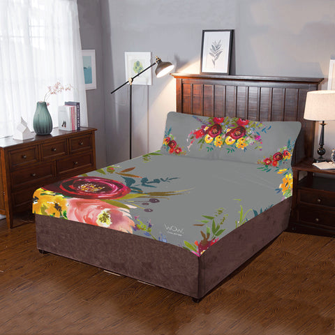 WOW | i Collection 3 Piece Colorful Floral Bedding Grey Set