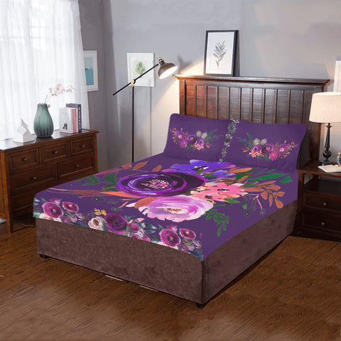 WOW | i Collection 3 Piece Colorful Floral Rich Purple Bedding Set