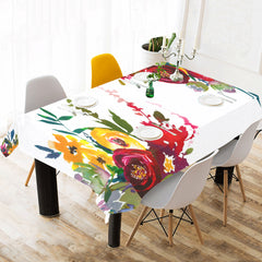 WOW | i Collection Colorful Floral White Tablecloth 60x120 Decoration