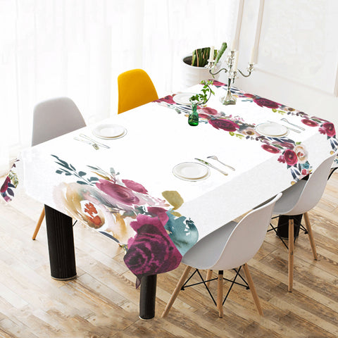 WOW | i Collection Soft Floral White Tablecloth 60x120 Decoration