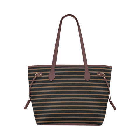 WOW | i Collection Black Geo Stripes High Grade Brown Classic Tote Bag