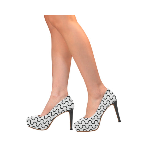 WOW | i Collection Women's High Heels Black and White S-Wave Pattern Fashion Shoes