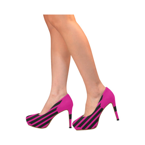 WOW | i Collection Women's High Heels Black and Pink Stripe Pattern Fashion Shoes