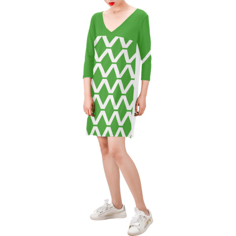 WOW | i Collection Deep V-Neck Three-Quarter Sleeve White & Green Diamondy Dress