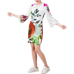 WOW | i Collection Bell Sleeve Colorful White Pink Floral Trendy Dress
