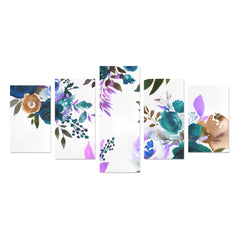 WOW | i Collection 5 Piece Multicolor Floral Wall Art Canvas Print