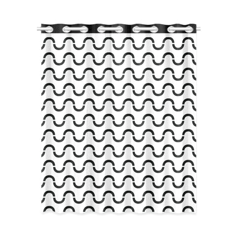 WOW | i Collection Black & White S-Wave Design 52x63 White Window Curtain