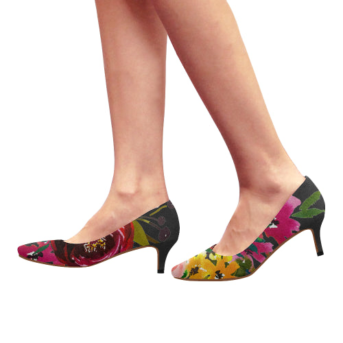 WOW | i Collection Women's Pointy Toe Low Kitten Heel Pumps Trendy Colorful Floral Black Shoes