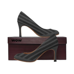 WOW | i Collection Women's Pumps High Heels Black & Dark Grey Pattern Shoes