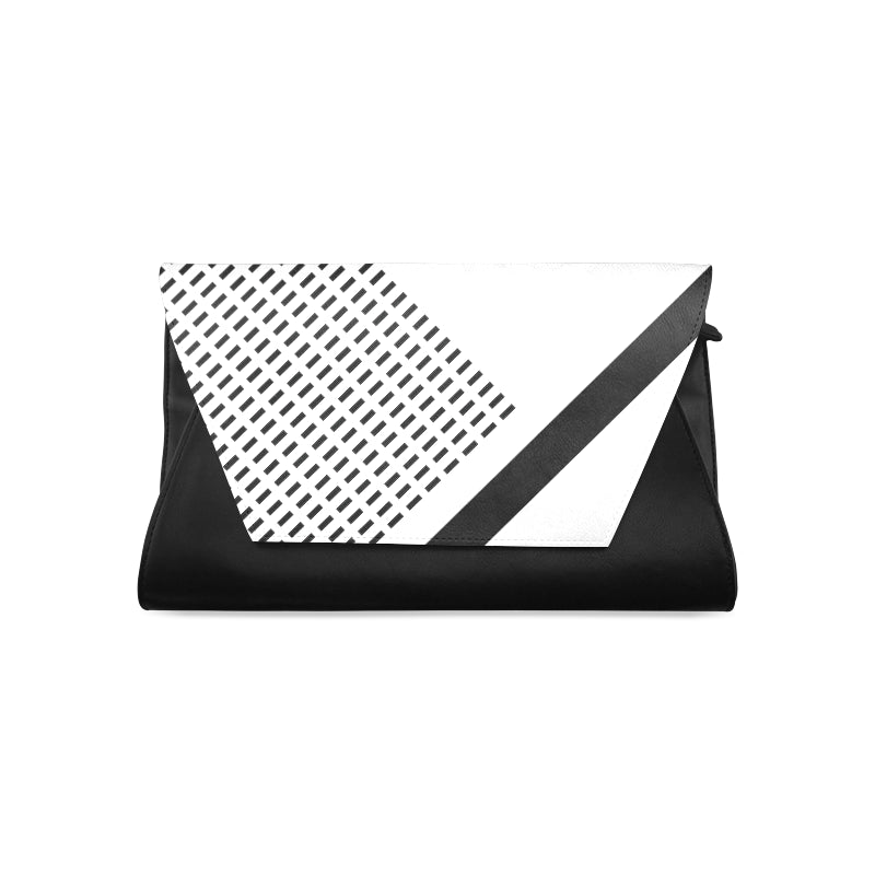 WOW | i Collection Women's Fashion B&W Fine Rectangular Pattern Clutch Bag