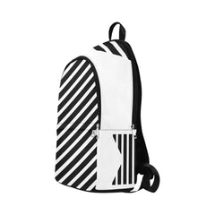 WOW | i Collection Geo Stripes Waterproof Nylon Casual B&W Backpack