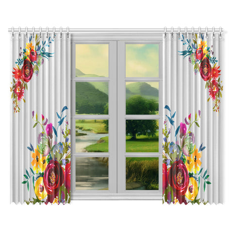 WOW | i Collection Colorful Floral 52x84 2Pcs Light Grey Window Curtains