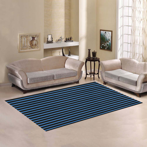 WOW | i Collection Geo Stripes Blue Area Rug 7' x 5'