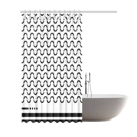 WOW | i Collection B&W S-Wave Designer 72x84 Shower Curtain