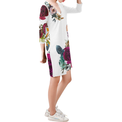 WOW | i Collection Deep V-Neck Three-Quarter Sleeve White Colorful Floral Dress