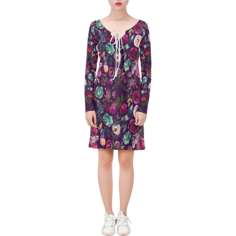WOW | i Collection Long Sleeves Rich Purple Colorful Floral Dress