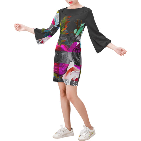 WOW | i Collection Bell Sleeve Colorful Floral Trendy Black Dress