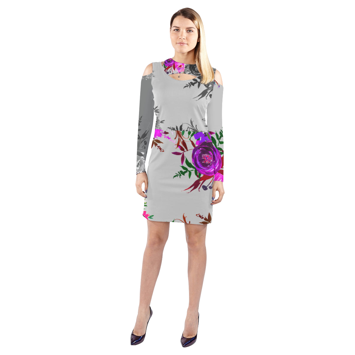 WOW | i Collection Purple Floral Halter Off Shoulder Long-Sleeve Grey Tone Dress