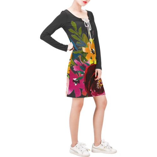 WOW | i Collection Long Sleeves Black Colorful Floral Dress