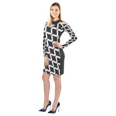 WOW | i Collection Geo Diamondy Halter Off Shoulder Long-Sleeve B&W Dress
