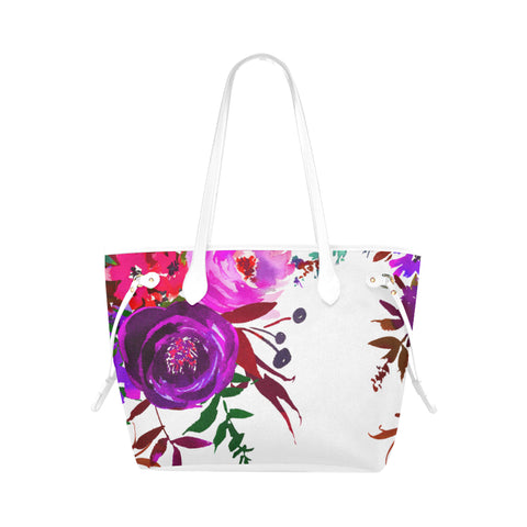WOW | i Collection Colorful Purple Floral High Grade White Classic Tote Bag