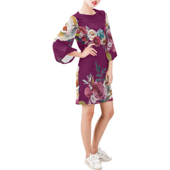 WOW | i Collection Bell Sleeve Floral Trendy Burgundy Purple Dress