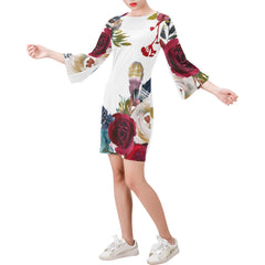WOW | i Collection Bell Sleeve Floral White Trendy Dress