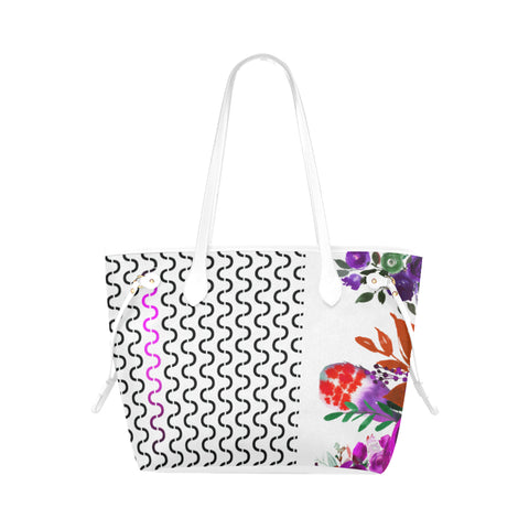 WOW | i Collection Geo Stripes Colorful Purple Floral High Grade White Classic Tote Bag