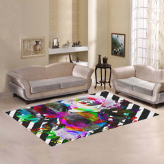 WOW | i Collection Colorful Floral B&W Geo Stripes Area Rug 7' x 5'