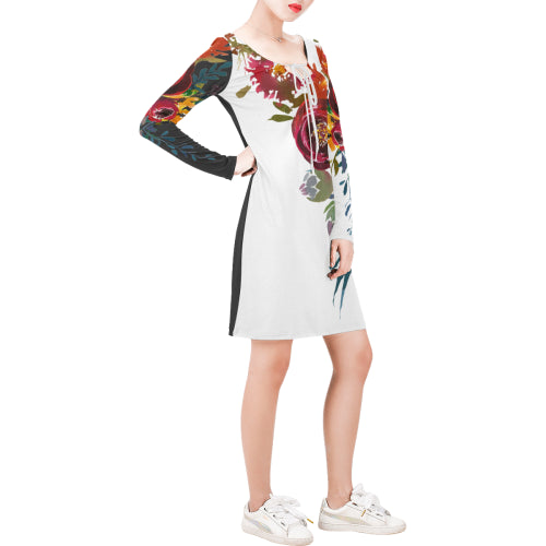 WOW | i Collection Long Sleeves Black & White Colorful Floral Dress