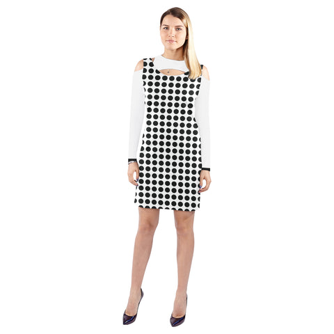 WOW | i Collection Geo Circular Halter Off Shoulder Long-Sleeve B&W Dress