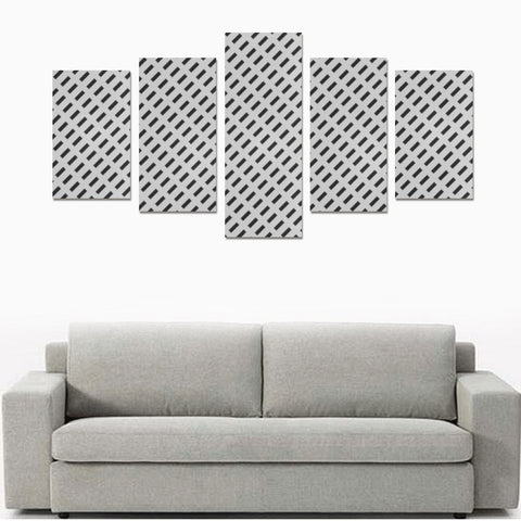 WOW | i Collection 5 Piece B&W Fine Rectangular Pattern Wall Art Canvas Print