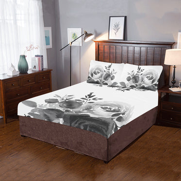 WOW | i Collection 3 Piece Black & White Soft Floral Bedding Set