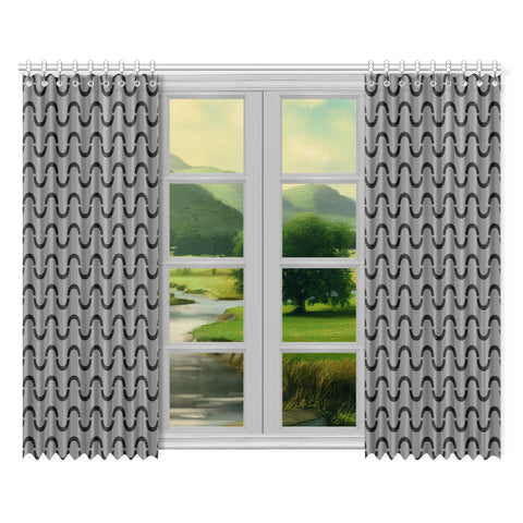 WOW | i Collection Black & Grey S-Wave 52x84 2Pcs Grey Window Curtains