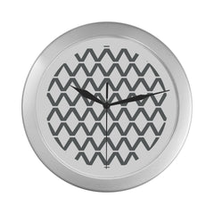 WOW | i Collection Diamondy Pattern Elegant Round Silver Framing Wall Clock