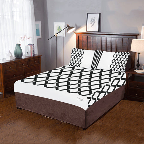 WOW | i Collection 3 Piece B&W Dimonday Pattern Bedding Set