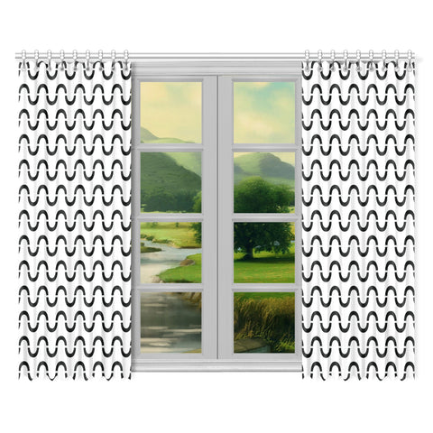 WOW | i Collection Black & White S-Wave 52x84 2Pcs White Window Curtains