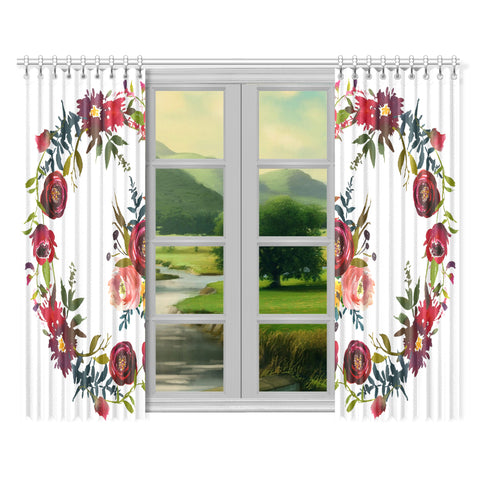 WOW | i Collection Colorful Red Floral 52x84 2Pcs White Window Curtains